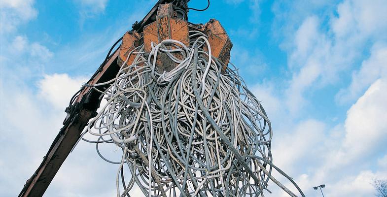 Crane lifting cable scrap